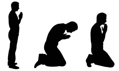 Silhouettes of men praying