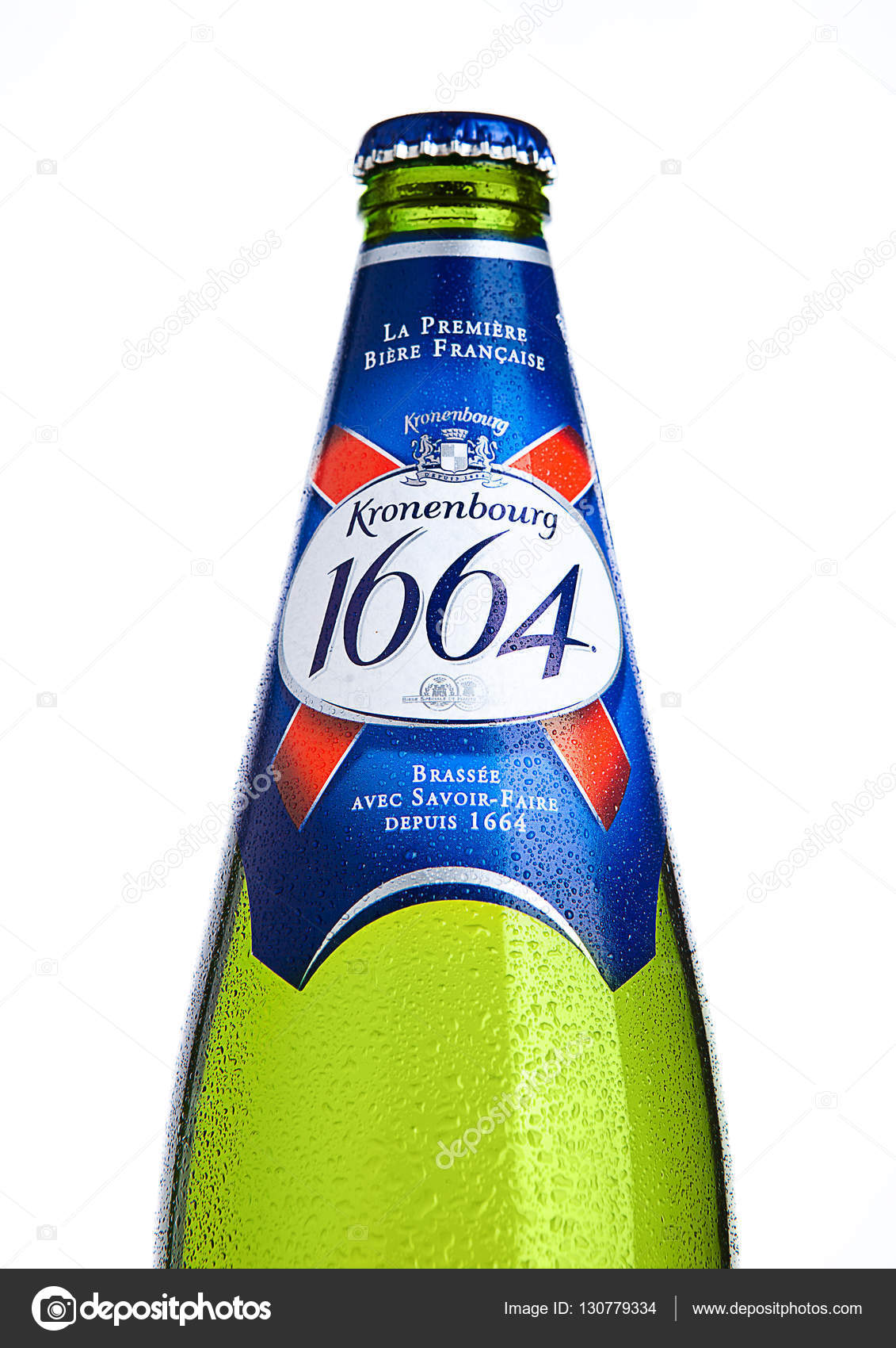 Cold bottle of Kronenbourg 1664 beer on