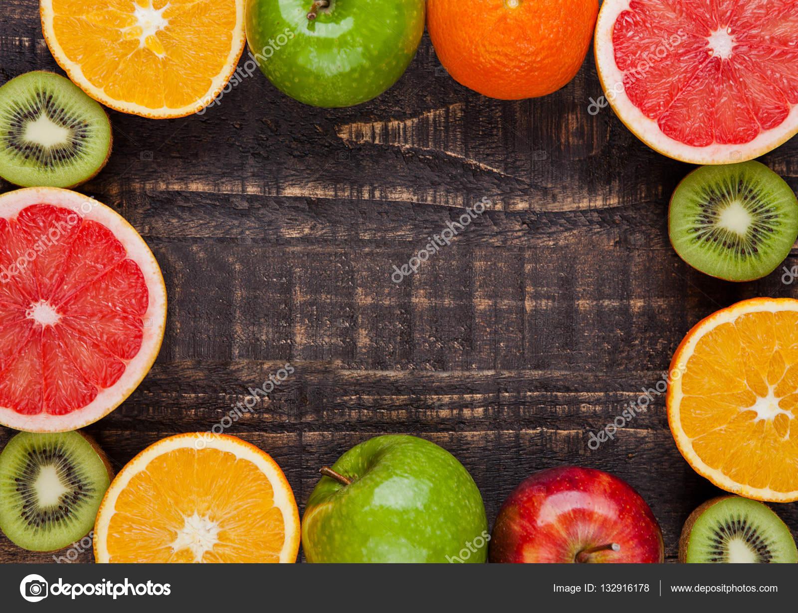 Желтый здоровый органических фруктов апельсины бананы грейпфрута.