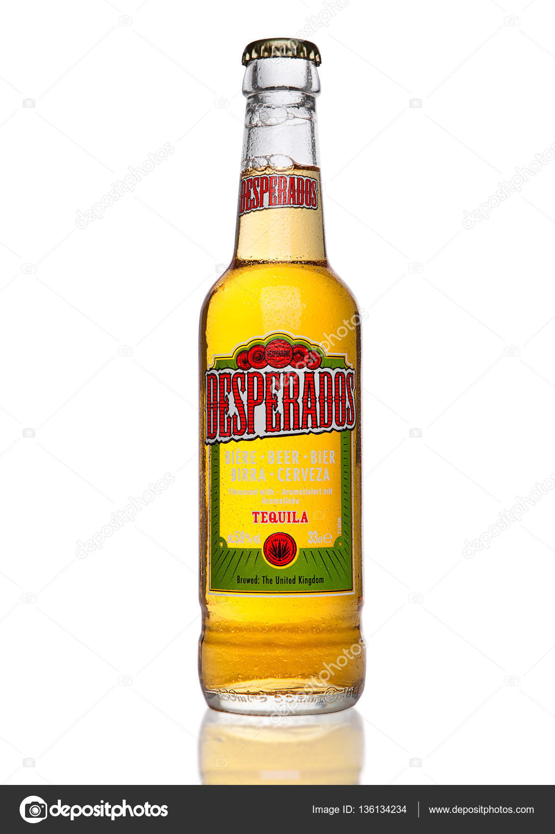 London Uk January 02 2017 Bottle Of Desperados Beer On Black Background Lager Flavored With Tequila Is A Popular Beer Produced By Heineken And Sold In Over 50 Countries Stock Editorial Photo C Denismart 136134234