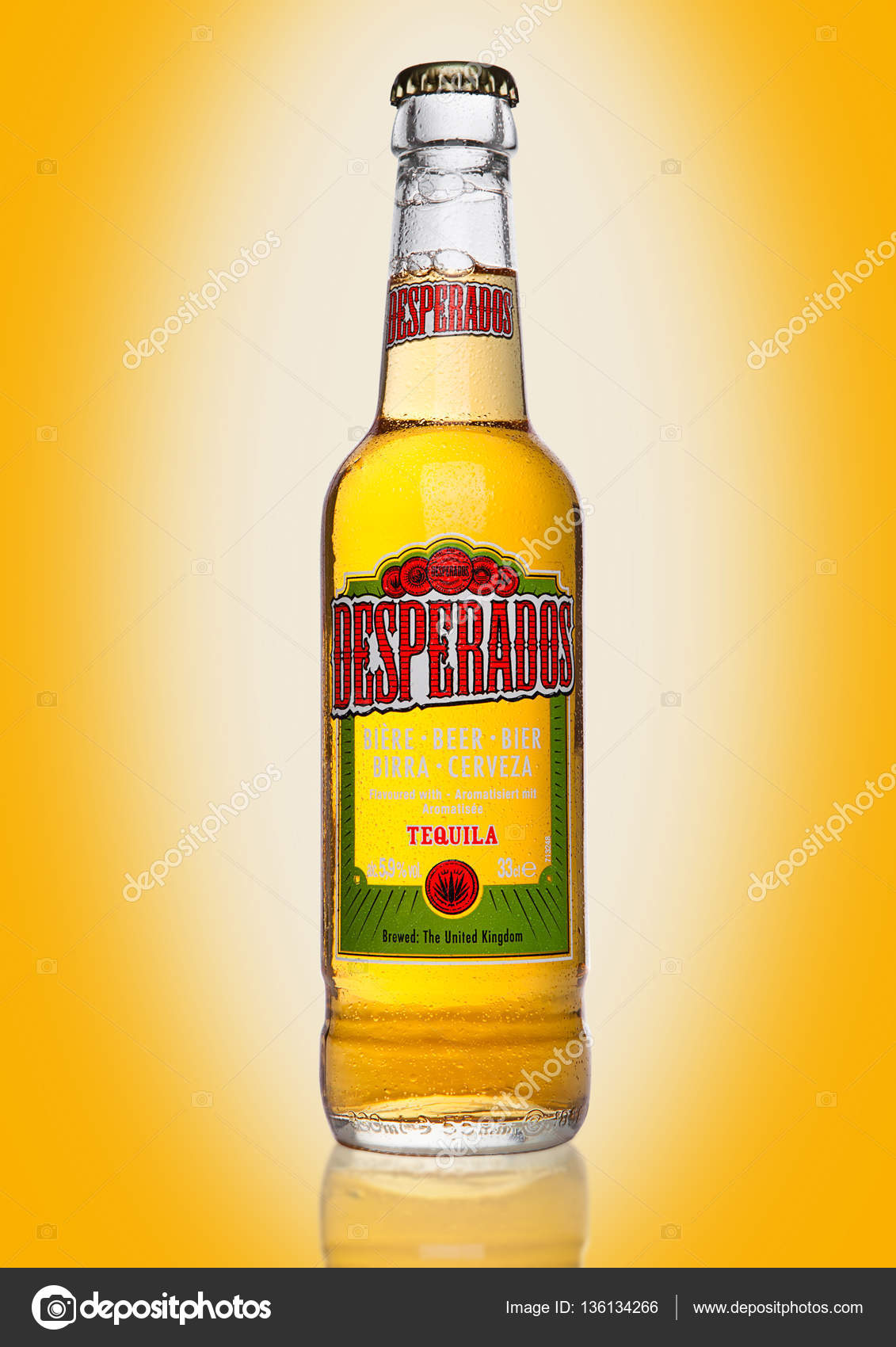 London Uk January 02 2017 Bottle Of Desperados Beer On Yellow Background Lager Flavored With Tequila Is A Popular Beer Produced By Heineken And Sold In Over 50 Countries Stock Editorial Photo C Denismart 136134266