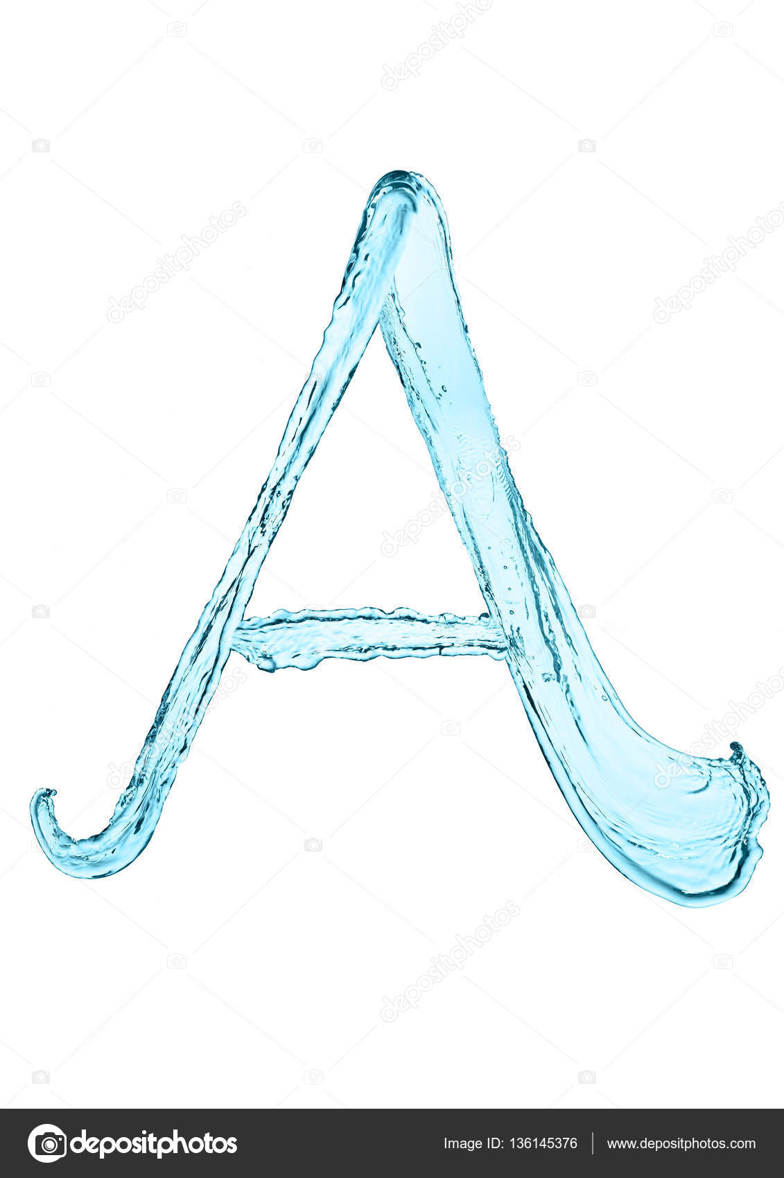 Water splash letter A with light blue color — Stock Photo ...