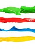 Színes folyékony festéket vízcseppek különböző színek