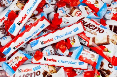 LONDON, UK - November 17, 2017: Kinder chocolate different mix on white.Kinder bars are produced by Ferrero founded in 1946.