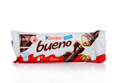 LONDON, UK - November 17, 2017: Kinder chocolate bueno on white.Kinder bars are produced by Ferrero founded in 1946.