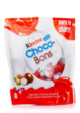 LONDON, UK - November 17, 2017: Kinder chocolate bons on white.Kinder bars are produced by Ferrero founded in 1946.