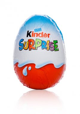 LONDON, UK - November 17, 2017: Kinder chocolate egg on white.Kinder bars are produced by Ferrero founded in 1946.