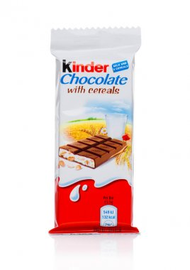 LONDON, UK - November 17, 2017: Kinder chocolate bar with cereals on white.Kinder bars are produced by Ferrero founded in 1946.