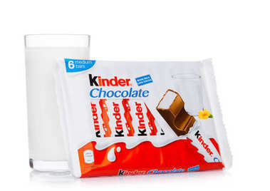 LONDON, UK - November 17, 2017: Kinder chocolate bar and milk glass on white.Kinder bars are produced by Ferrero founded in 1946.