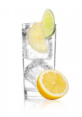 Glass of sparkling water soda drink lemonade