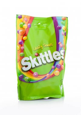 LONDON, UK -DECEMBER 07, 2017: Skittles Candy Pack Crazy Sours on white. Skittles is a brand of fruit flavoured sweets.