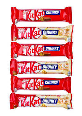 LONDON, UK -DECEMBER 07, 2017: Kit Kat chunky chocolate white chocolate bar on white. Bars Kit Kat is produced by Nestle company.