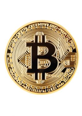 Bitcoin. Physical bit coin. Digital currency. Cryptocurrency. Golden coin with bitcoin symbol isolated on white background stock vector