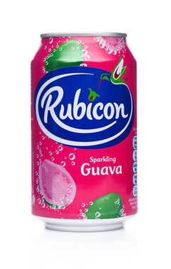 LONDON, UK - JANUARY 24, 2018: Aluminium Can of Rubicon sparkling soda drink with guava on white