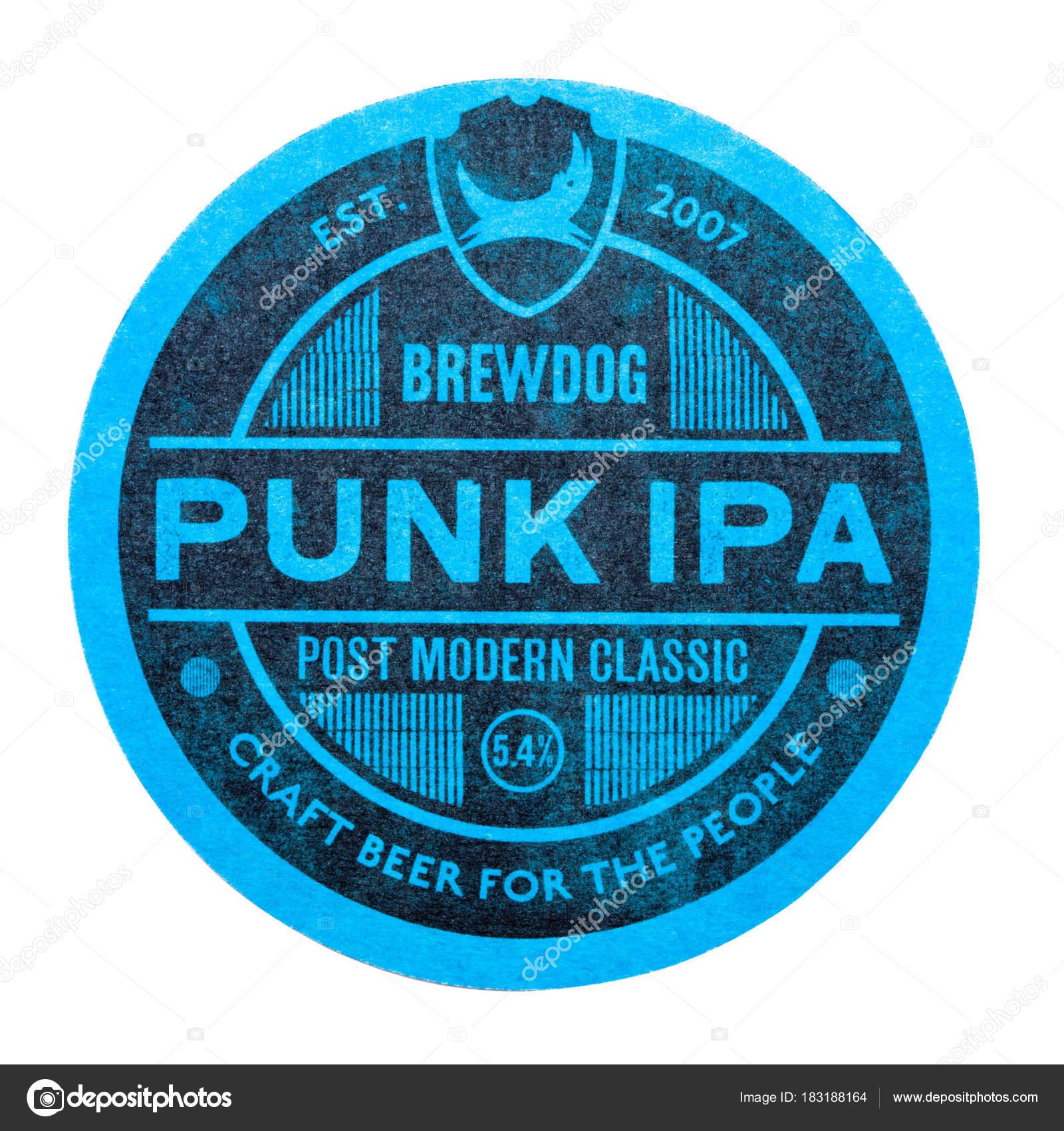 London Uk February 04 2018 Brewdog Punk Ipa Craft Beer Original Beermat Coaster Isolated On White Stock Editorial Photo C Denismart 183188164