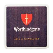 london, uk - februar 04, 2018: worthington s beer biermat coaster isolation on white.