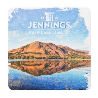 LONDON, UK - FEBRUARY 04, 2018: Jennings original beermat coaster isolated on white