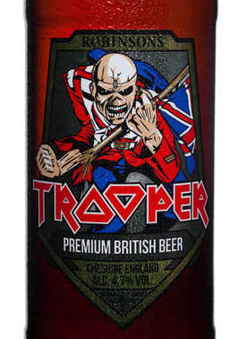 LONDON, UK - FEBRUARY 14, 2018: Cold Bottle label of Trooper Premium British Beer on white. Created by Iron Maiden.