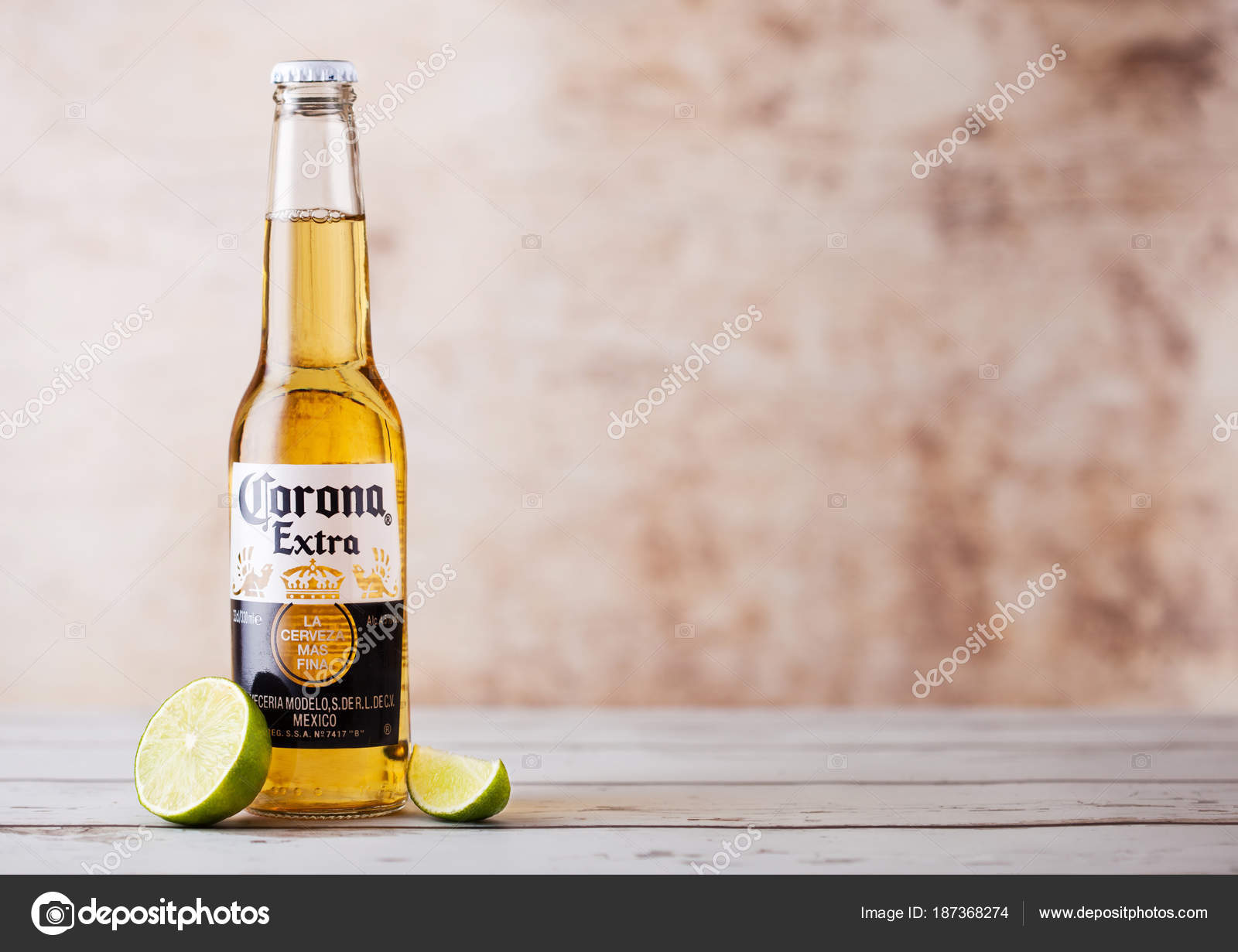 London Uk March 10 2018 Bottles Of Corona Extra Beer With Lime Slice On Wood Corona Is The Most Popular Imported Beer In The Us Stock Editorial Photo C Denismart 187368274