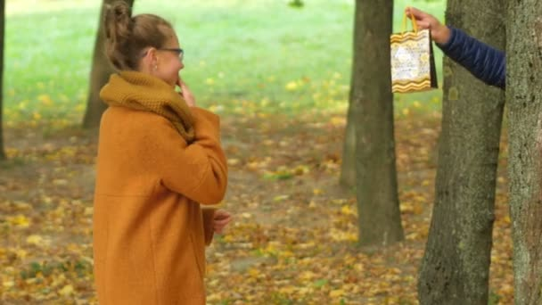 Father Makes Daughter A Surprise Gift For His Birthday Dad Handed The Teenager Present In Beautiful Autumn Forest Stock Footage