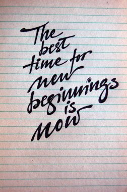 The best Time for New Beginnings is Now calligraphic background