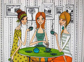 girls in cafe colorful illustration