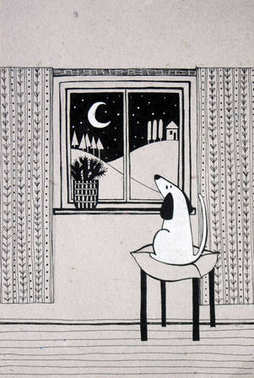 dog looking out the window, black and white illustration