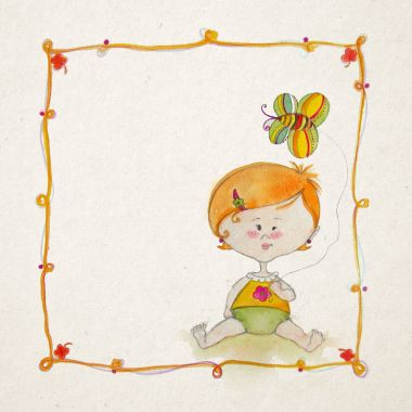 Baby arrival template with cute baby girl, watercolor illustration