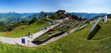 25 August 2017. Hanggliders on the take-off in Kitzbuhel