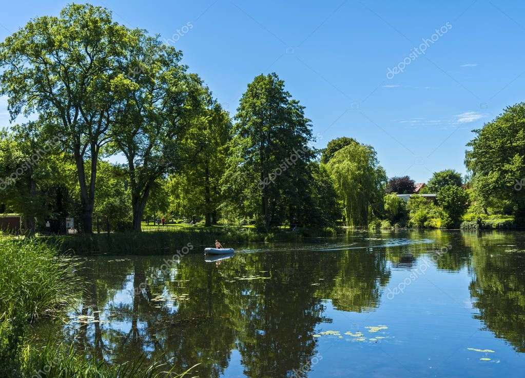 Фотообои Lake and Pond in the small town of Mlln in Schleswig Holstein, Germany