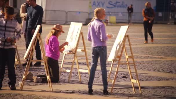 Stpetersburg Rusya Resimleri Boyama çocuklar Sanatçılar Stok