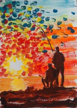 Fishermen silhouette over sunrise