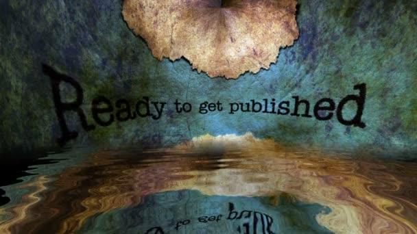 Bereit zum veröffentlichten Grunge-Text, der im Wasser reflektiert