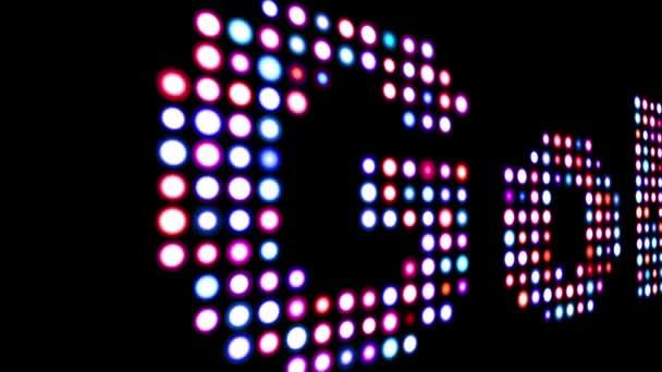 Golf bunte LED-Text über schwarz