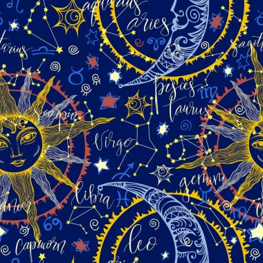 hand drawn astrological pattern