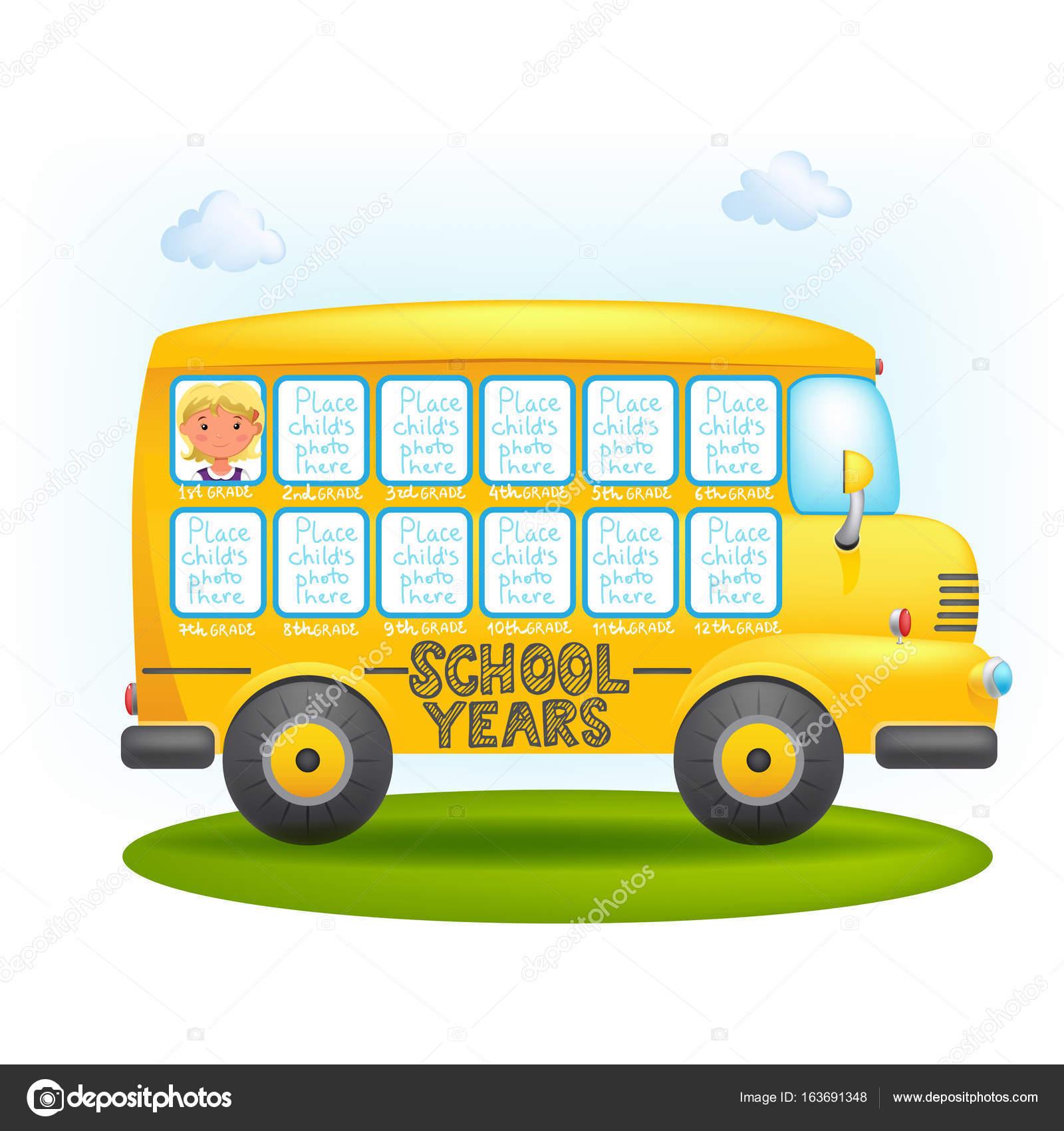 marco de autobús escolar — Vector de stock © Ola-Ola #163691348