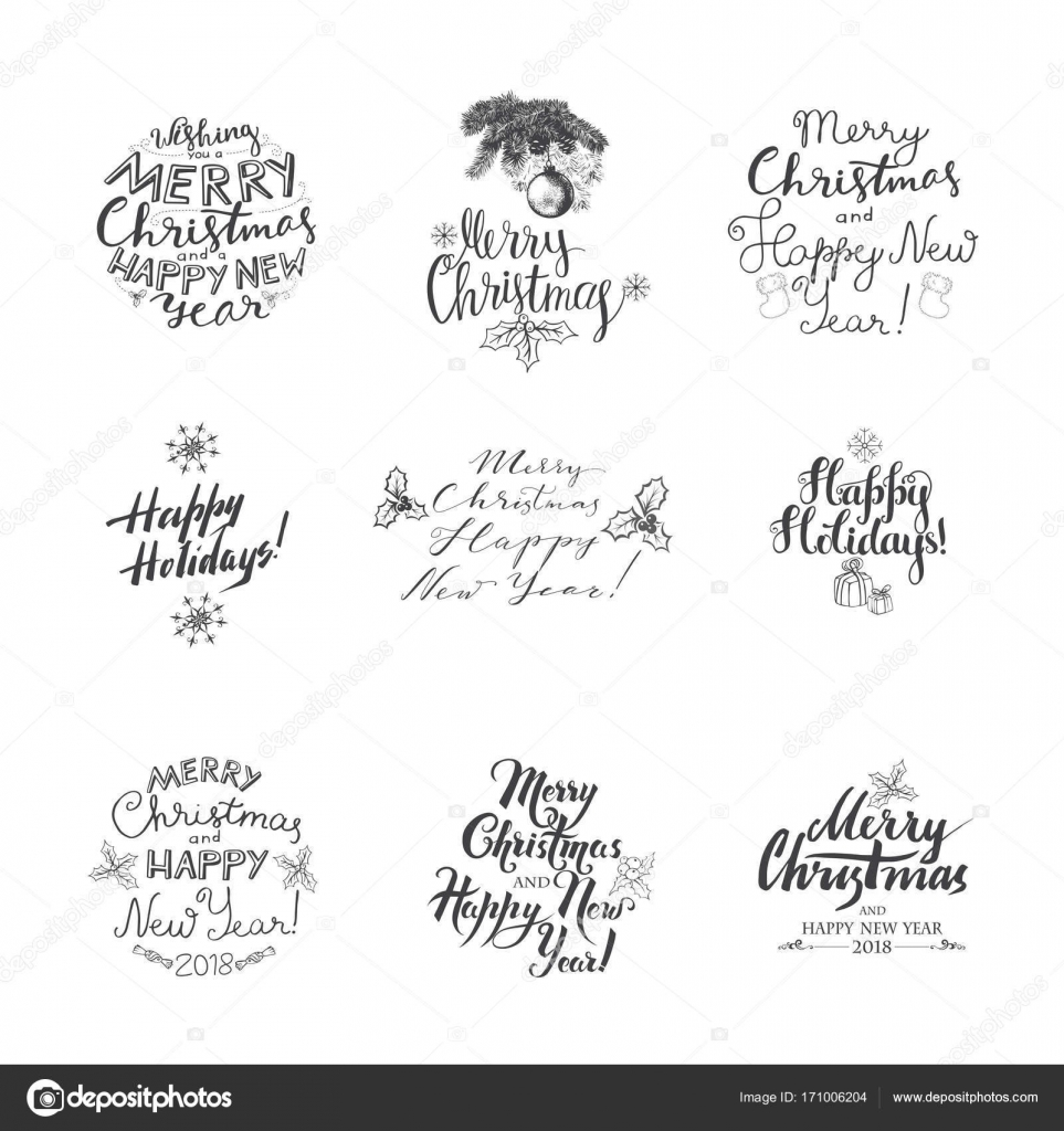 Frohe Weihnachten-Schrift-Design-Set — Stockvektor © Ola-Ola #171006204