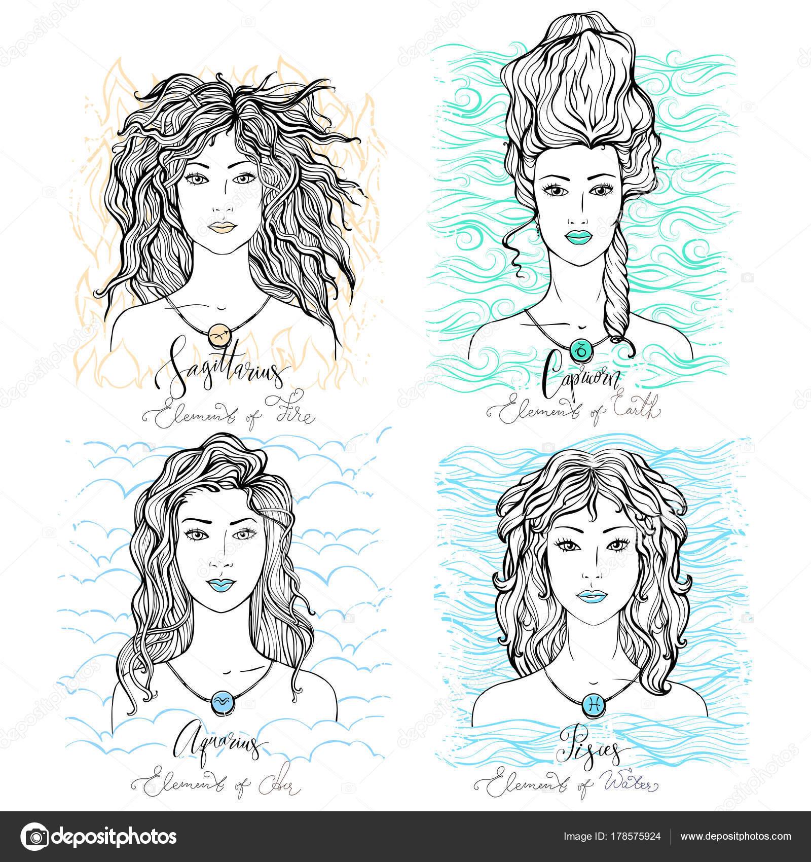 Four Zodiac Signs Sagittarius Capricorn Aquarius Pisces Image ...