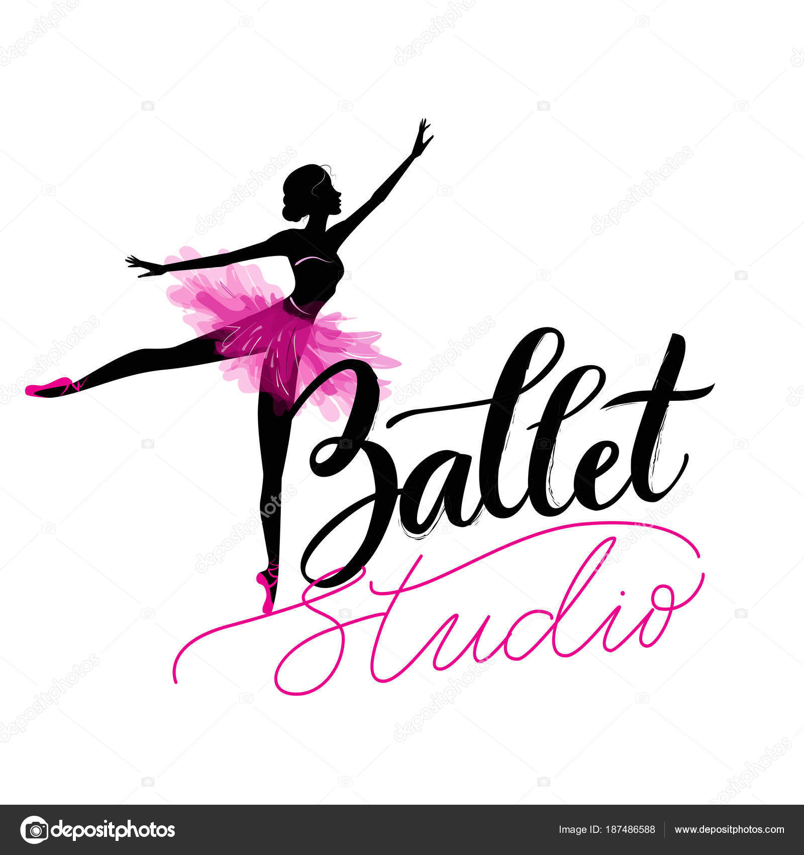 Logo Hand Written Sign For Ballet Or Dance Studio Silhouette Of Young Dancer And Modern Lettering Can Be Used Signage Posters Advertising