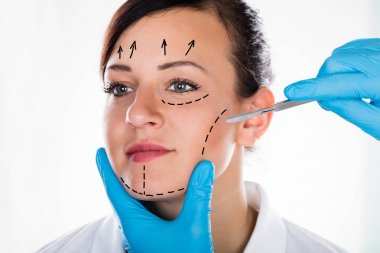 Woman Face With Correction Lines