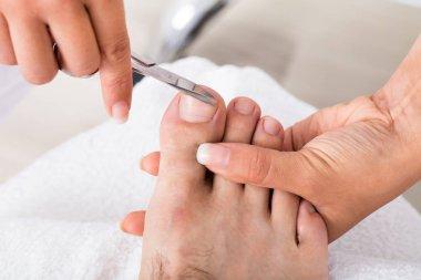 Manicurist doing Trimming of Male Toenails