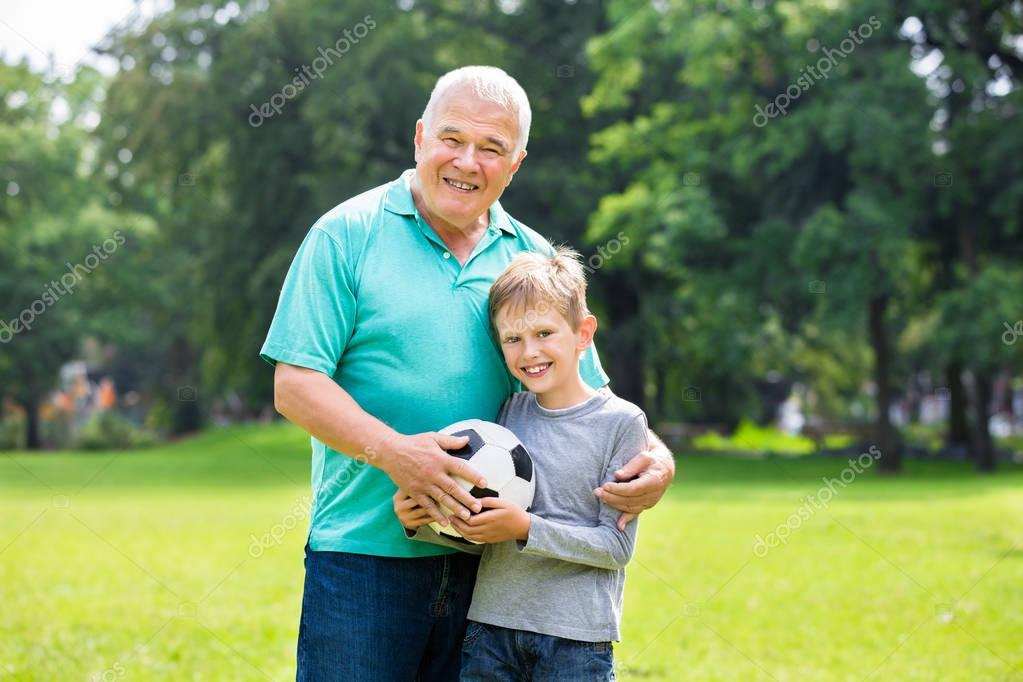 Grandfather Playing Soccer