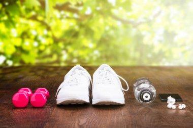 Training accessory on wooden floor