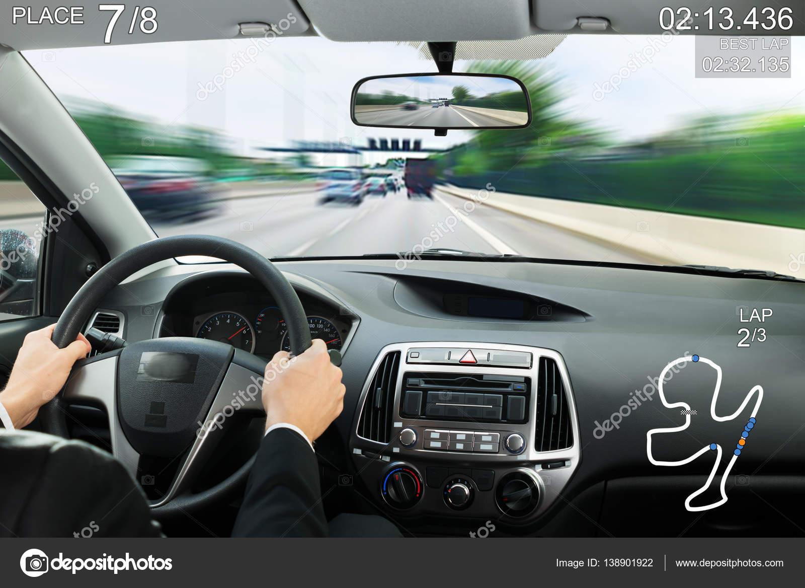 auto spiel auf dem bildschirm stockfoto