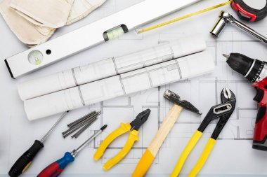 Tools And Equipment On Blueprint
