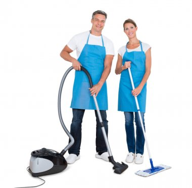 Janitors With Vacuum Cleaner