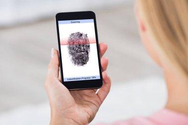 Mobile Phone Showing Fingerprint