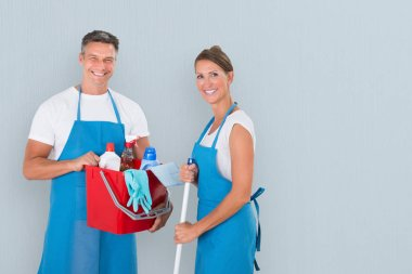Janitors With Cleaning Equipments