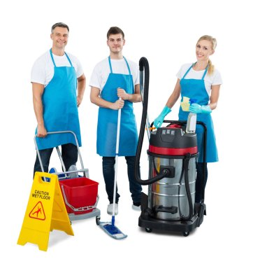 Janitors Standing With Cleaning Equipment