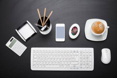 Office Equipment On Desk